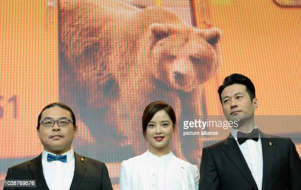 66th International Film Festival in Berlin Germany 15 February 2016 Press conference 'Chang Jiang Tu' Director Yang Chao with actors Xin Zhi Lei and...