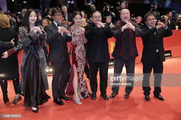 66th International Film Festival in Berlin Germany 20 February 2016 Closing and award ceremony Members of the cast of 'Chang Jiang Tu' with...
