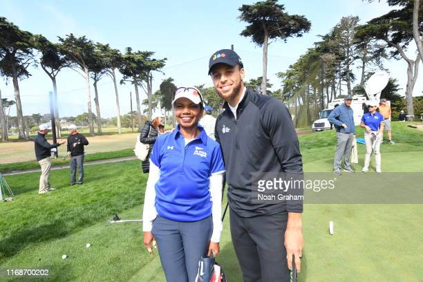 66th US Secretary of State Condoleezza Rice and Stephen Curry pose for a photo during the 2019 Stephen Curry Charity Classic presented by Workday at...