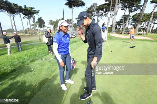 66th US Secretary of State Condoleezza Rice and Stephen Curry talk during the 2019 Stephen Curry Charity Classic presented by Workday at TPC Harding...
