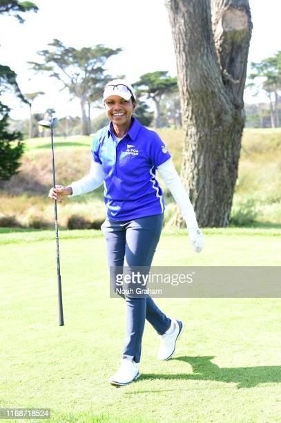 66th US Secretary of State Condoleezza Rice looks on during the 2019 Stephen Curry Charity Classic presented by Workday at TPC Harding Park on...