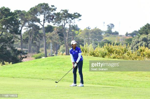 66th US Secretary of State Condoleezza Rice plays a shot during the 2019 Stephen Curry Charity Classic presented by Workday at TPC Harding Park on...