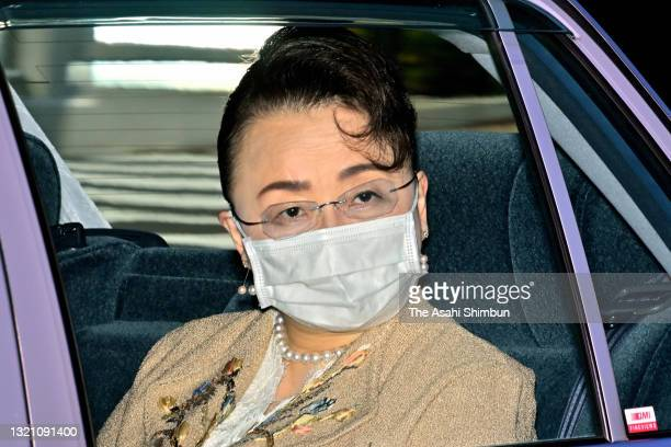 Year-old Princess Nobuko of Mikasa is seen on arrival at the Imperial Palace to take vaccination on June 1, 2021 in Tokyo, Japan.