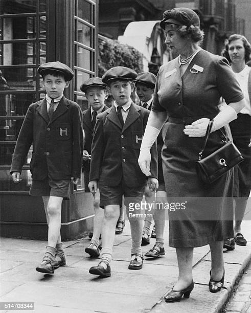 6/7/1957London England Back to school and fully recovered from his recent tonsilectomy eight year old Prince Charles goes out June 7th for a...