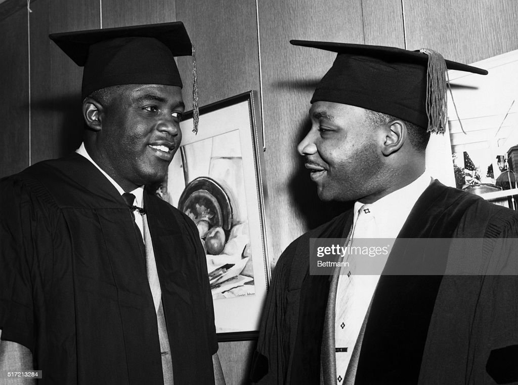Martin Luther King, Jr. and Jackie Robinson at Commencement : News Photo