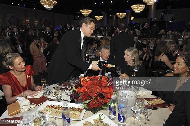 67th ANNUAL GOLDEN GLOBE AWARDS Pictured Cameron Diaz Leonardo DiCaprio Robert De Niro unknown Grace Hightower during the 67th Annual Golden Globe...