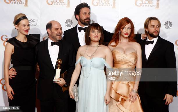 67th ANNUAL GOLDEN GLOBE AWARDS Pictured Cast of Mad Men in the press room during the 67th Annual Golden Globe Awards held at the Beverly Hilton...