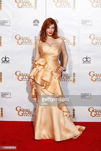 """67th ANNUAL GOLDEN GLOBE AWARDS -- Pictured: Christina Hendricks winner of Best Television Series - Drama for """"Mad Men"""" wearing a Christian Siriano..."""