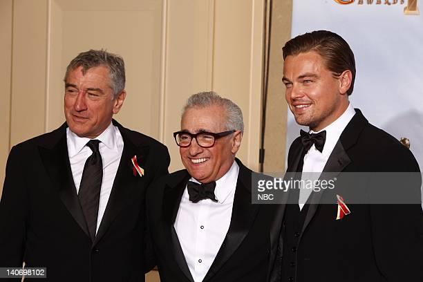 67th ANNUAL GOLDEN GLOBE AWARDS Pictured Presenter Robert De Niro Martin Scorsese winner of the Cecil B DeMille Award presenter Leonardo DiCaprio in...