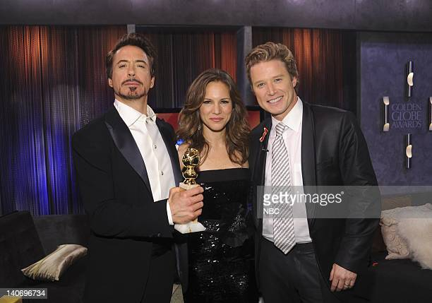 67th ANNUAL GOLDEN GLOBE AWARDS Pictured Robert Downey Jr Susan Levin Billy Bush during an interview at the 67th Annual Golden Globe Awards held at...