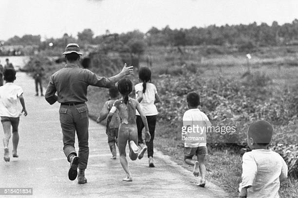 Trang Bang South VietnamORIGINAL CAPTION READS Vietnamese Children running after accidental napalm attack against this village by government aircraft...
