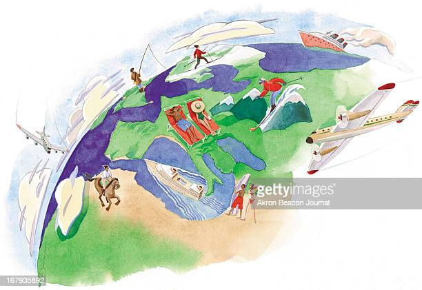 68p x 47p Rick Steinhauser color illustration of vacationers on a globe, fishing, sunning, skiing and horseback riding.