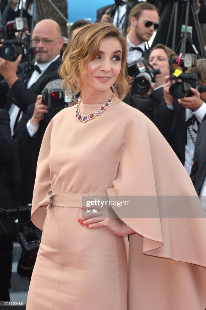 68th Cannes Film Festival. French actress Clotilde Courau walking up the famous steps before the screening of the film 'Standing Tall' (French: 'La Tete haute') on .