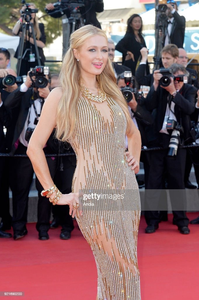 68th Cannes Film Festival. Paris Hilton walking up the famous steps before the screening of the film 'Inside Out' (French: 'Vice-Versa') on 2015.