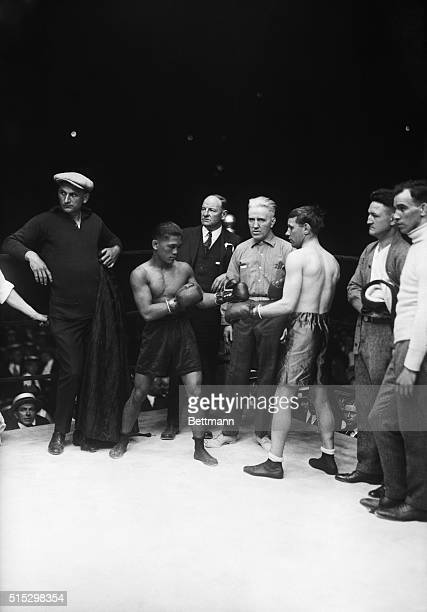 6/9/1923New York NYPhoto shows Pancho Villa and Jimmy Wilde squaring off sparring in the ring before their bout
