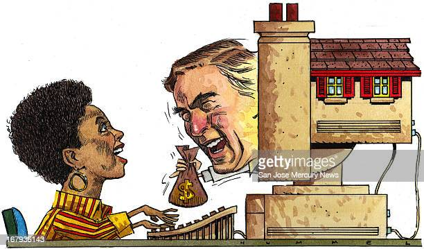 69p x 40p Jim Hummel color illustration of woman getting a home mortgage over the Internet banker hands her a bag of money through a house shaped...