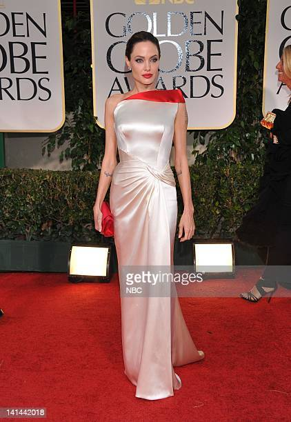 69th ANNUAL GOLDEN GLOBE AWARDS -- Pictured: Angelina Jolie arrives at the 69th Annual Golden Globe Awards held at the Beverly Hilton Hotel on...