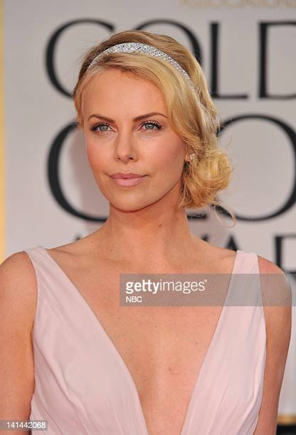 69th ANNUAL GOLDEN GLOBE AWARDS Pictured Charlize Theron arrive at the 69th Annual Golden Globe Awards held at the Beverly Hilton Hotel on January 15...