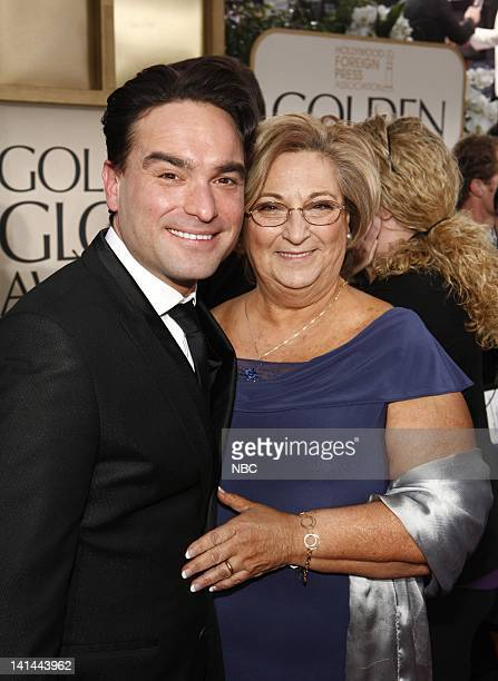 69th ANNUAL GOLDEN GLOBE AWARDS Pictured Johnny Galecki and Mary Lou Galecki arrive at the 69th Annual Golden Globe Awards held at the Beverly Hilton...