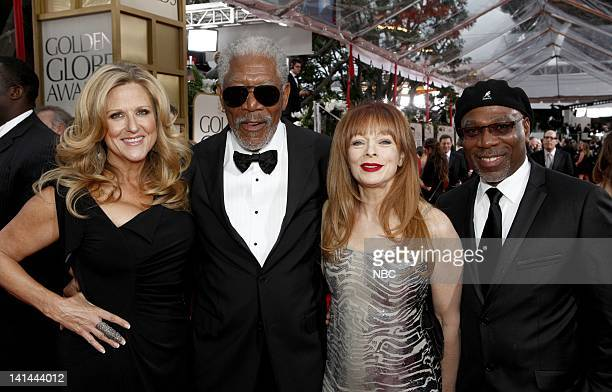 69th ANNUAL GOLDEN GLOBE AWARDS Pictured Producer Lori McCreary Morgan Freeman Frances Fisher Alfonso Freeman arrive at the 69th Annual Golden Globe...