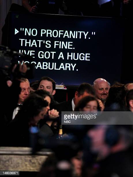 69th ANNUAL GOLDEN GLOBE AWARDS Pictured Teleprompter for Ricky Gervais during the 69th Annual Golden Globe Awards held at the Beverly Hilton Hotel...