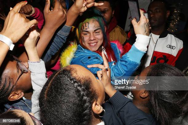6ix9ine attends La La Anthony Hosts 'Winter Wonderland' Holiday Charity Event on December 21 2017 in New York City