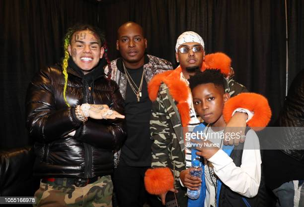 6ix9ine DJ Self and DJ SpinKing backstage at 2018 Power1051 Powerhouse NYC at Prudential Center on October 28 2018 in Newark New Jersey