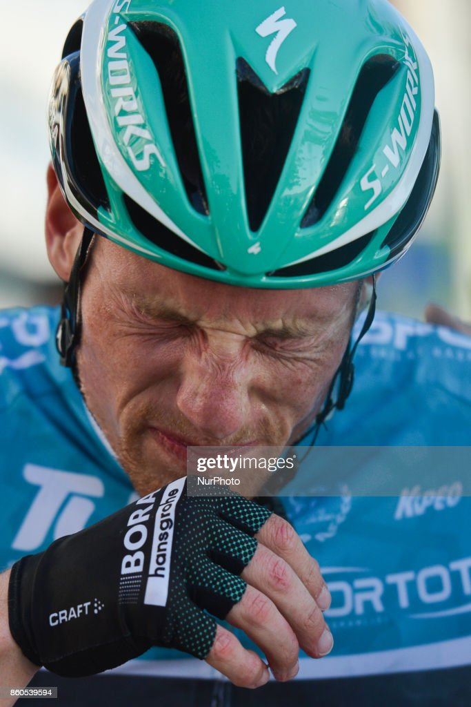 Sam Bennett from BoraHansgrohe team in Turquoise Leader Jersey wins the third stage - the 128.6km Spor Toto Fethiye to Marmaris stage of the 53rd Presidential Cycling Tour of Turkey 2017. On Thursday, 12 October 2017, in Marmaris, Turkey.