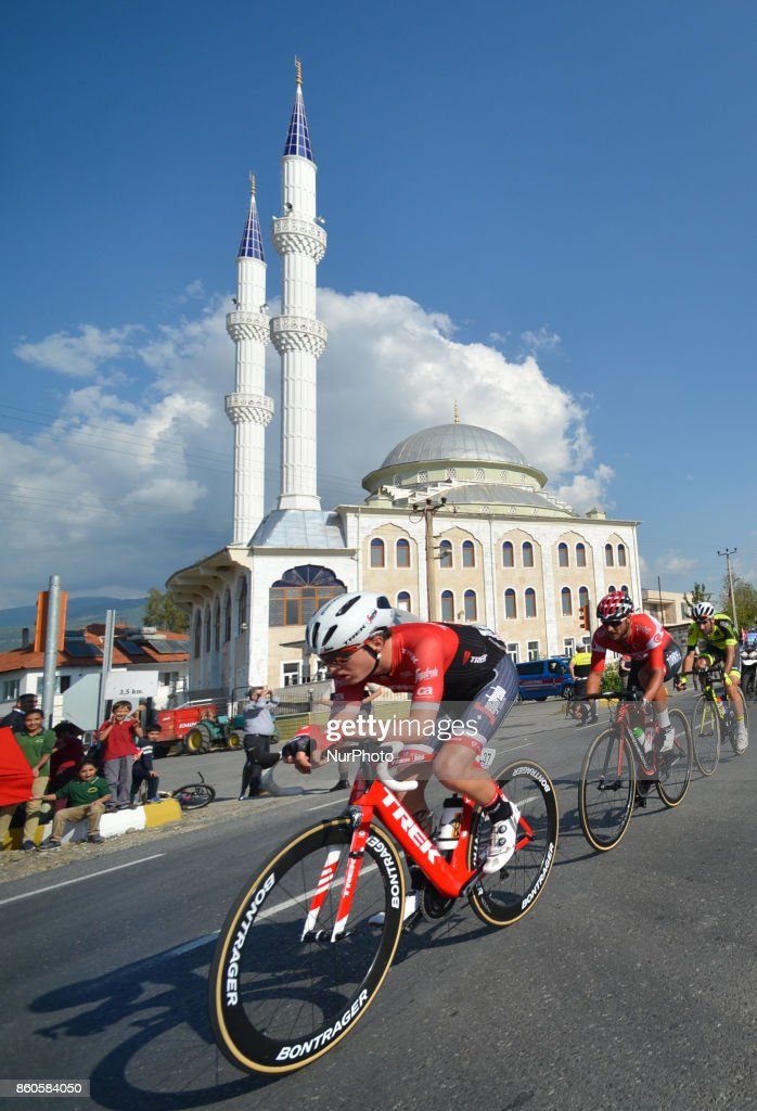 The breakaway group of three riders (Ferit Can Samli from Turkish National Team, Thomas Deruette from Veranclassic Aquality Protect Team and Daniel Gregory from Trek Segafredo Team) during the third stage - the 128.6km Spor Toto Fethiye to Marmaris stage of the 53rd Presidential Cycling Tour of Turkey 2017. On Thursday, 12 October 2017, in Marmaris, Turkey.