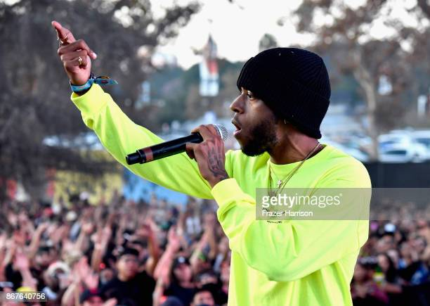 6lack performs on the Flog Stage during day 1 of Camp Flog Gnaw Carnival 2017 at Exposition Park on October 28 2017 in Los Angeles California