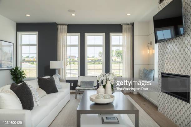 Living area with Tiled Fireplace in the Dylan Model Townhome at Regency at Belmont on August 6, 2021 in Ashburn Virginia.