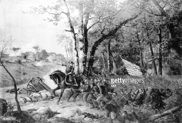 American Union Army General Ulysses S Grant rallying his troops during the Battle of Shiloh in Tennessee