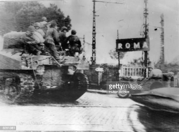 An American Sherman tank unit pushing forward to conquer Rome.