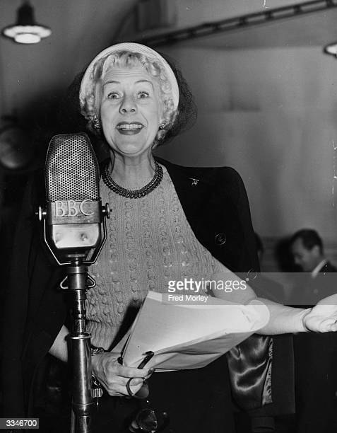 Stage screen and radio comedienne Cicely Courtneidge rehearses for her latest radio appearance