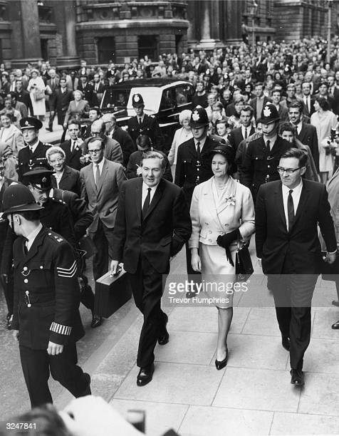 Chancellor of the Exchequer James Callaghan leaves Downing Street with his wife before presenting his budget for the Labour government of Harold...