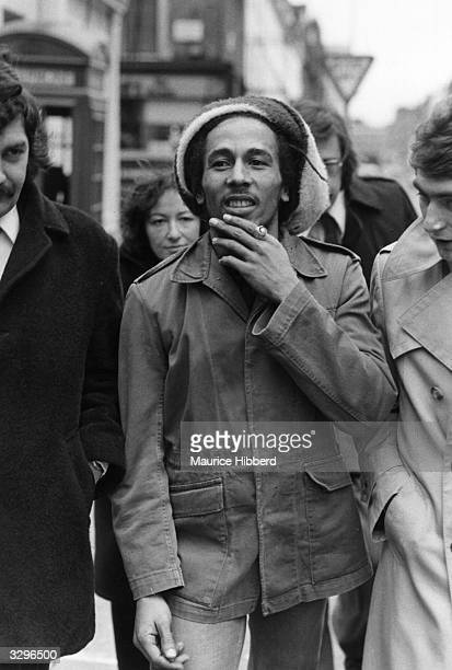 Jamaican singersongwriter and reggae star Bob Marley outside Marylebone Magistrates Court in London where he was fined for possession of cannabis