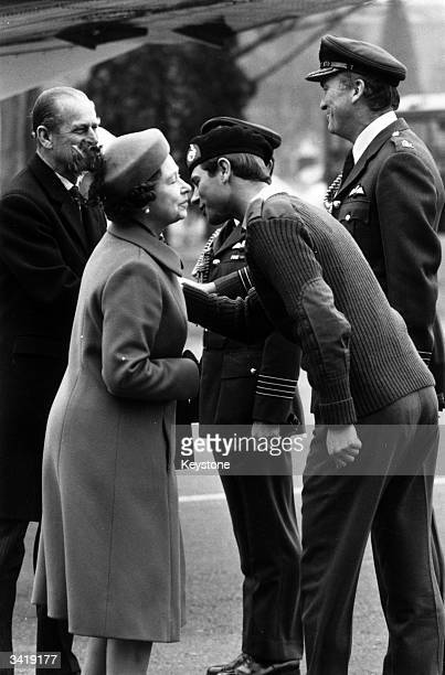 Prince Edward greeting his mother and father Queen Elizabeth II and Prince Philip the Duke of Edinburgh during a display of Queen's Flight aircraft...