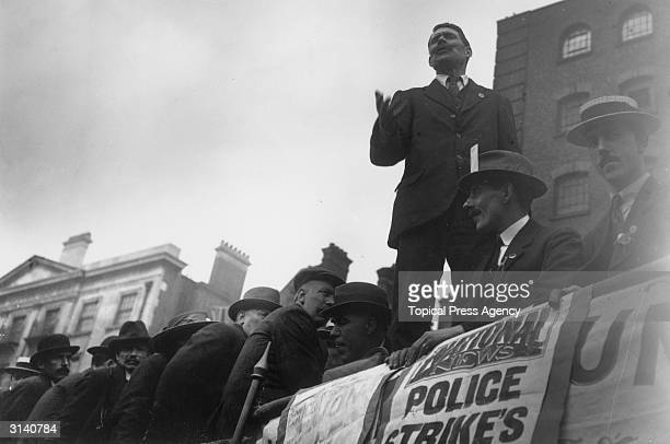Striking Policemen being addressed by a Union leader during a meeting at Tower Hill London