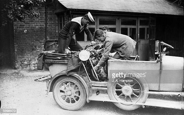 A competitor's Royal Enfield motorcycle is unloaded before the Arbuthnot AutoCycle Trophy Trial at Bagshot Surrey The race was abandoned due to a...