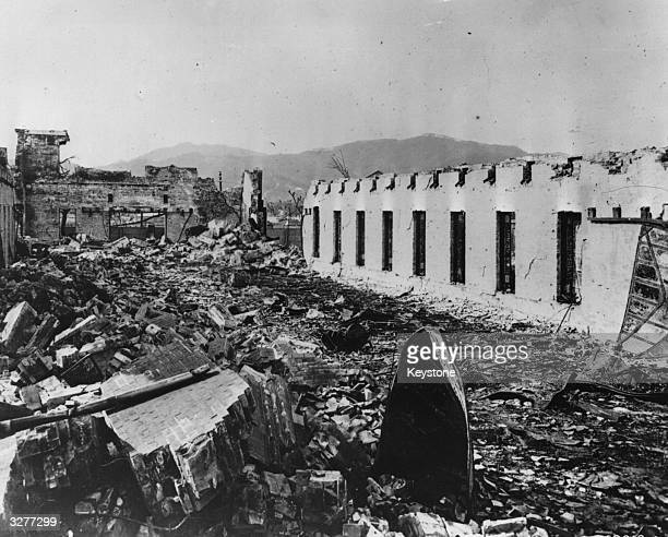 The remains of the barracks at the Japanese Army Divisional Grounds 4200 feet from where the atomic bomb landed at Hiroshima