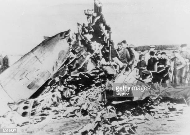 The remains of the U2 spy plane flown by American pilot Francis Gary Powers which was shot down over Soviet airspace