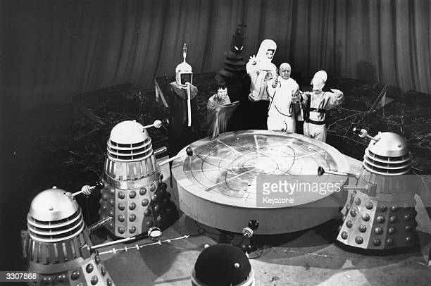 A scene from 'Mission to the Unknown' an episode of the popular British television scifi series 'Doctor Who' shows a meeting in the Dalek city on...