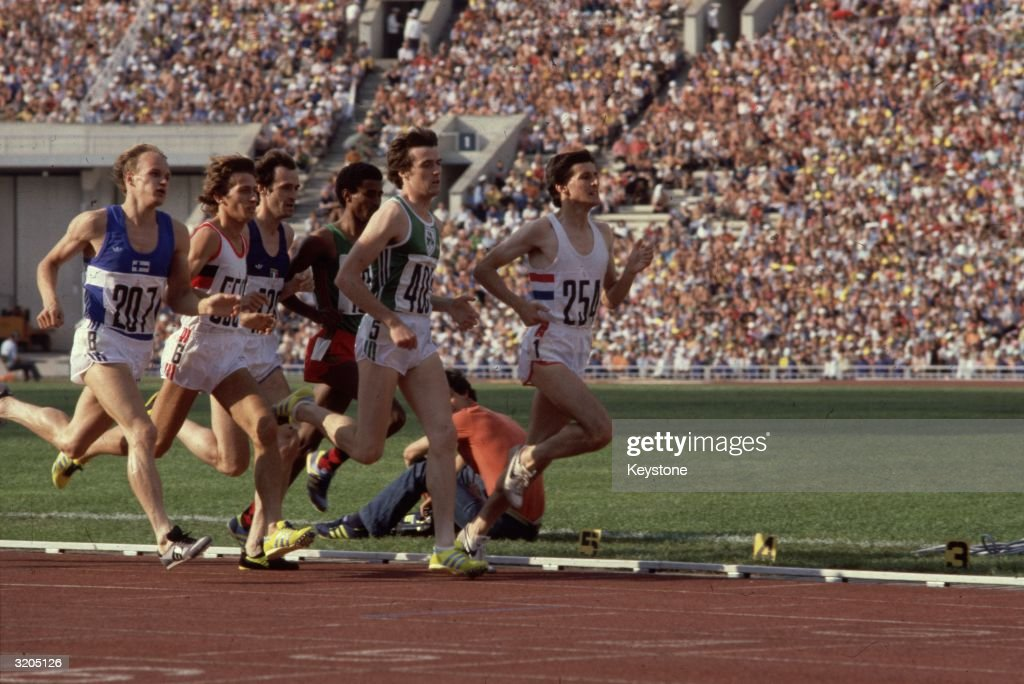 British athlete Sebastian Coe running the 1500 metres final at the Moscow Olympics in which he won gold.