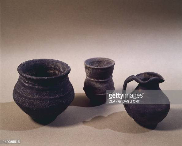 6th Century Terracotta Jug Drinking Cup And Vase From Oise Region