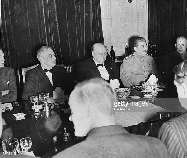 American statesman Franklin Delano Roosevelt, the 32nd President of the United States of America, British Prime Minister Winston Churchill and Soviet...