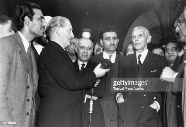 Indian muslim politician Muhammad Ali Jinnah right with Indian statesman Pandit Nehru at India House London for talks on the future of India and the...