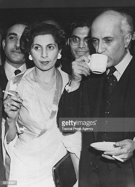 Indian Prime Minister Pandit Jawaharlal Nehru at a reception held at India House London for the various Indian leaders and representatives to discuss...