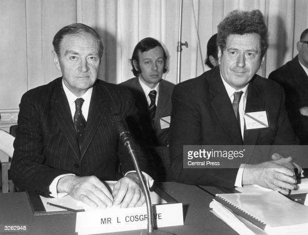 The Irish Prime Minister Liam Cosgrave with Mr Fitzgerald at the Civil Service Staff College Sunningdale Berkshire for tripartite talks between the...