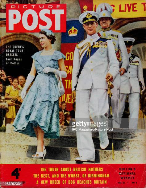 Queen Elizabeth II and Prince Philip during a Royal Tour of Bermuda is featured for the cover of Picture Post magazine Original Publication Picture...