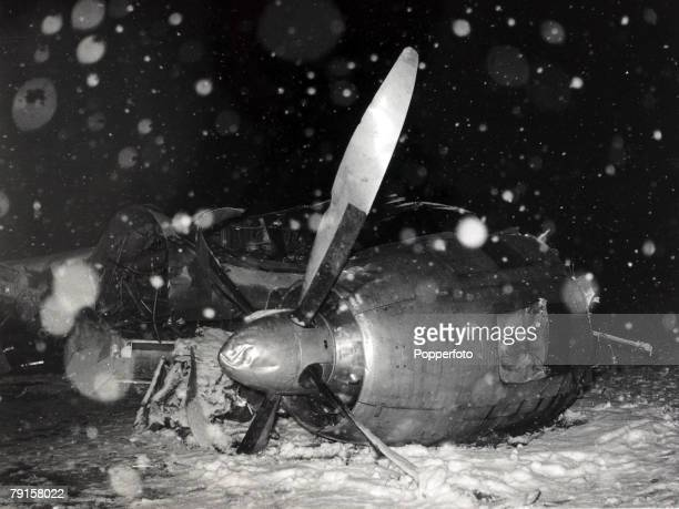 The wreckage of the BEA Elizabethan airliner GALZU 'Lord Burghley' after the crash at Munich in which 23 people died including 8 Manchester United...